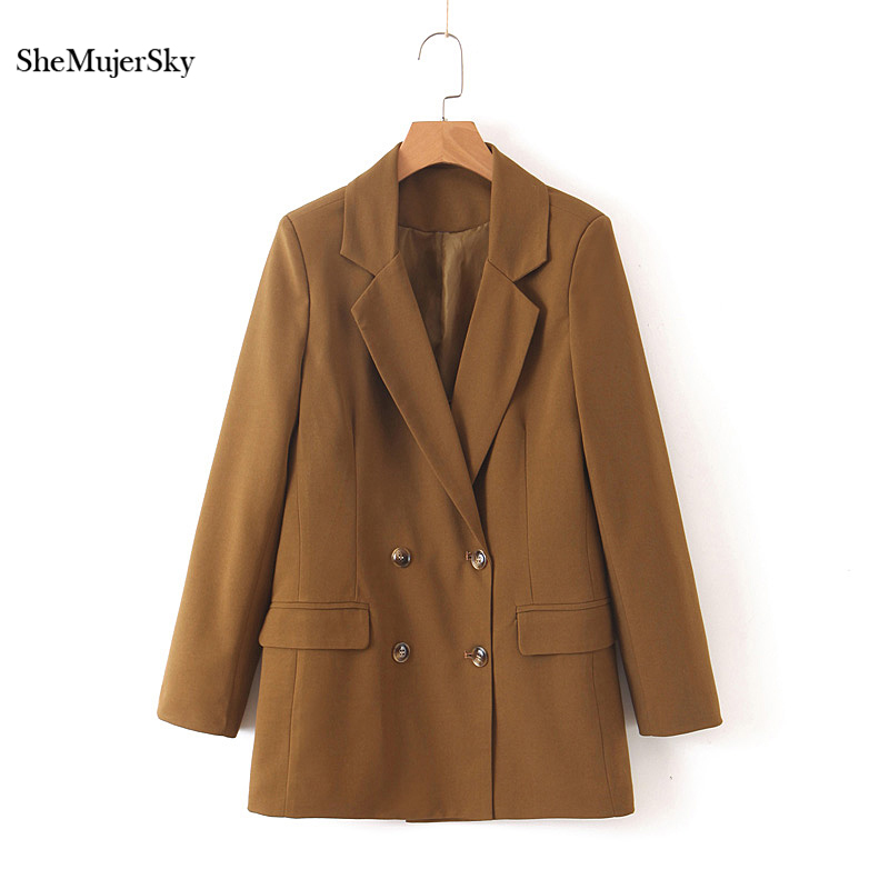 SheMujerSky Women Brown Blazers And Jackets Office Ladies Double Breasted Suit 2019 Long Sleeve Womens Coats