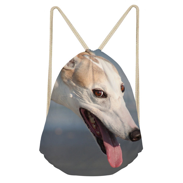 Noisydesigns 3D Animal Dog Greyhound Print School Girls Drawstring Bag Small Women's Bags Female Softback Backpack Clothes Bags