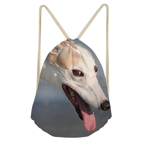 Noisydesigns 3D Animal Dog Greyhound Print School Girls Drawstring Bag Small Women s Bags Female Softback