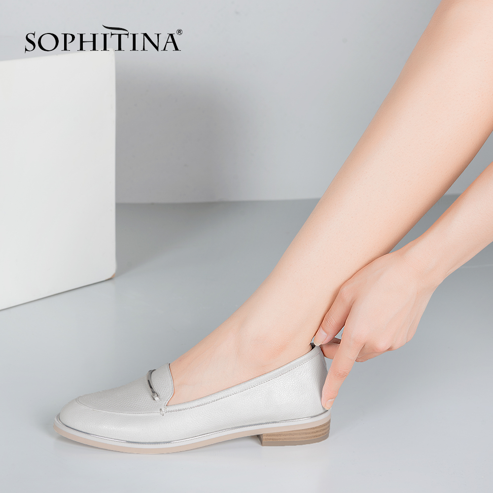 SOPHITINA Genuine Leather Basic Flats 2019 Autumn Elegant Round Toe Metal Chain Flat Office Career Women