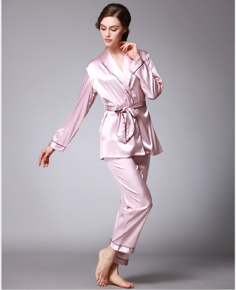a666def82a Women Satin Pajama set V neck Japanese Kimono Sexy pyjama femme Soft ...