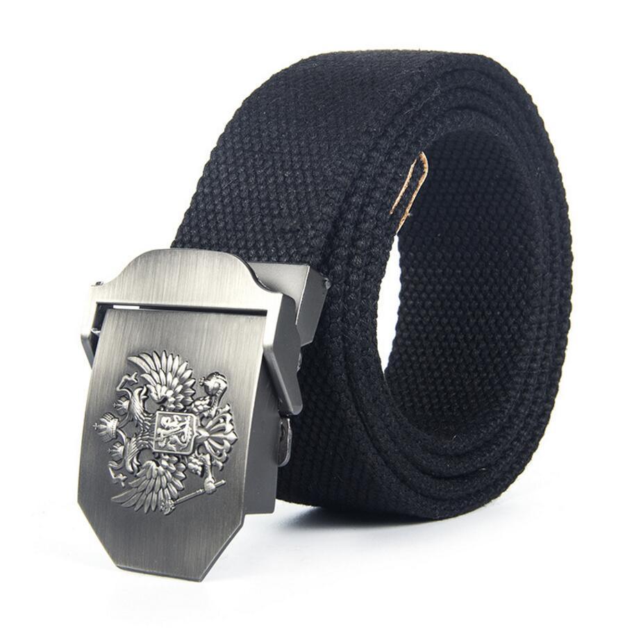 [Veroseice] New Design High Quality Casual Canvas Belt For Men Doule Eagles Auto Buckle Canvas Strap Jeans Women Belt