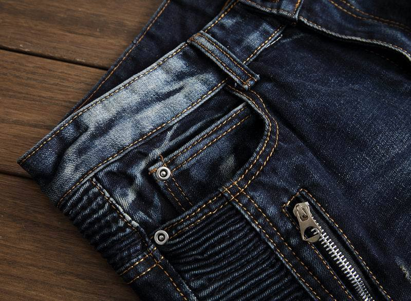 Newsosoo Fashion Men\`s Ripped Pleated Biker Jeans Pants Washed Slim Fit Denim Motorcycle Denim Trousers Straight For Male (5)