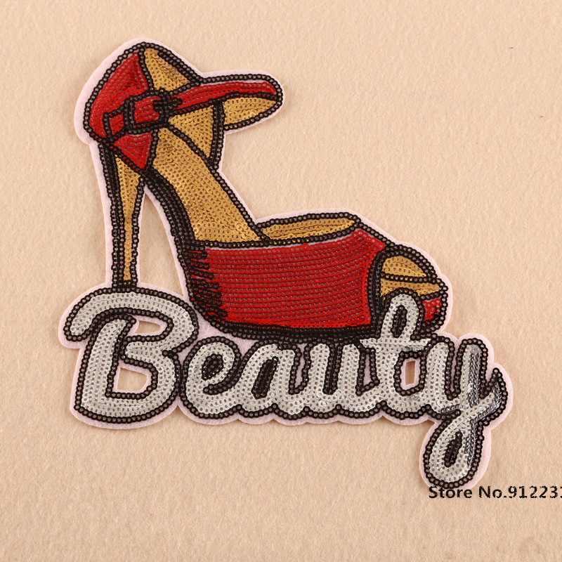 Красота Красный высокая обувь на каблуке швейной блесток патчи аппликация мультфильм патч grils Одежда Аксессуары Оптовая Продажа 5 шт./лот