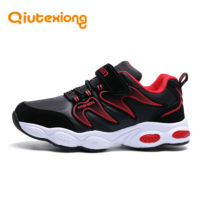 QIUTEXIONG School Children Shoes For Boys Sneakers Casual Shoes Kids Footwear Leather Anti-Slippery Striped kinderschoenen