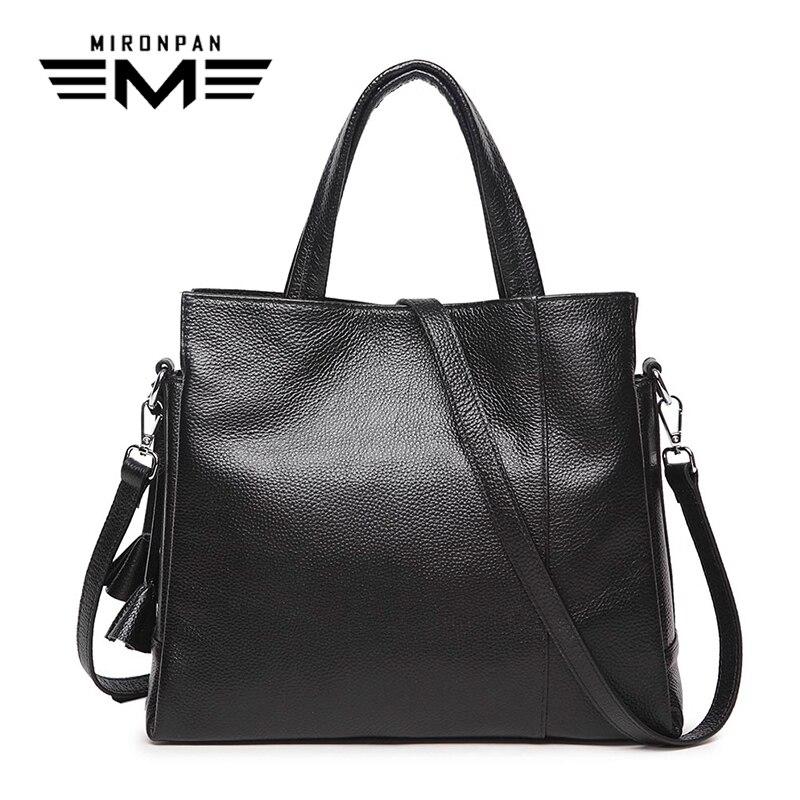 MIRONPAN 2018 Original Women Handbag Genuine Leather Zipper Casual Shopping Shoulder Bags Female Traveling Solid Totes цена