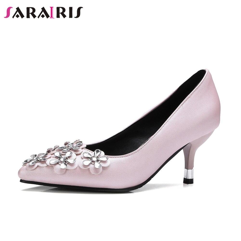 Pointu Partie Chaussures rose Mince Cristal Haute Printemps Noir Pompes Marque Plus Taille Femme Solide Nouveau Talons Rétro Sarairis Automne 32 Bout Casual 48 ED9IH2