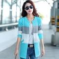 Женщины мода свитер шить цвет кардиган свитер вязания толщиной свободного покроя свитер зимние и осенние джокер открытым стежка свитер
