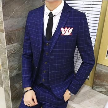 2019 Luxury Check Desin Navy Blue Men Suit Fashion British Style High Quality Dress Slim Fit Plaid Mens Suit with Vest Trousers