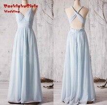 sky Blue A Line Bridesmaid Dresses Gowns Open Back Pleat Maid Of Honor long dresses vestido de festa custom made dress 2017