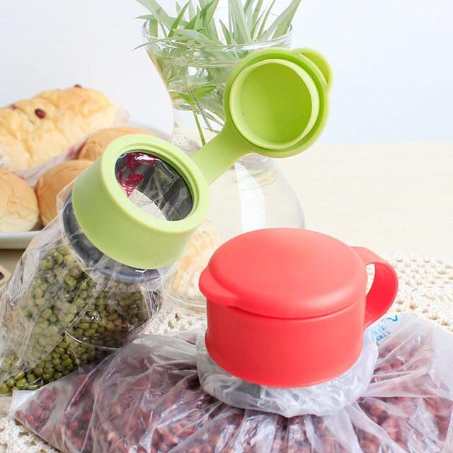 1Pc Hot Plastic Orange Food Bag Clips Kitchen Storage Preserve Plastic Sealing Bag Cap Household Tool