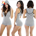 2016 Hot Rompers Womens Jumpsuit Sexy Short V Neck Sleeveless Bodycon Bandage Jumpsuit Bodysuit Slim Short Cotton Romper Grey