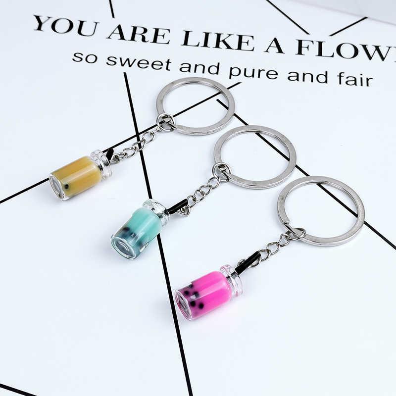 Personality Cute Pearl Milk Tea Keychain Girl Car Key Women Backpack Pendant Key Ring Jewelry Girlfriend Couple Birthday Gift