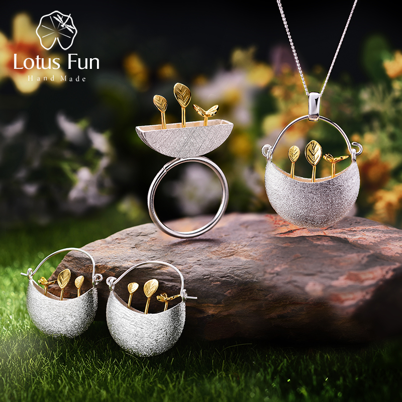 Lotus Fun Real 925 Sterling Silver Handmade Fine Jewelry My Little Garden Jewelry Set with Ring