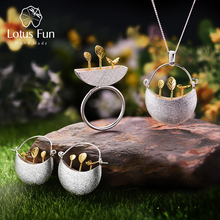 Lotus Fun Real 925 Sterling Silver Handmade Fine Jewelry My Little Garden Jewelry Set with Ring Drop Earring Pendant Necklace