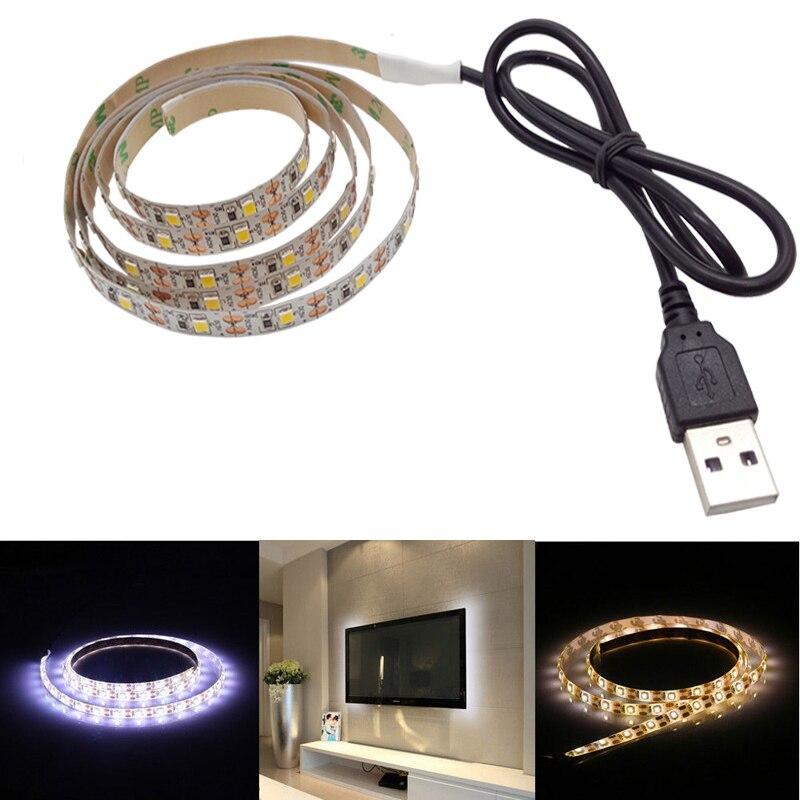 USB LED Strip light 2835 White/Warm White DC 5V/6V Not Waterproof Tape LED Lamp 0.5M 1M 2M 3M 4M 5M TV Background Lighting