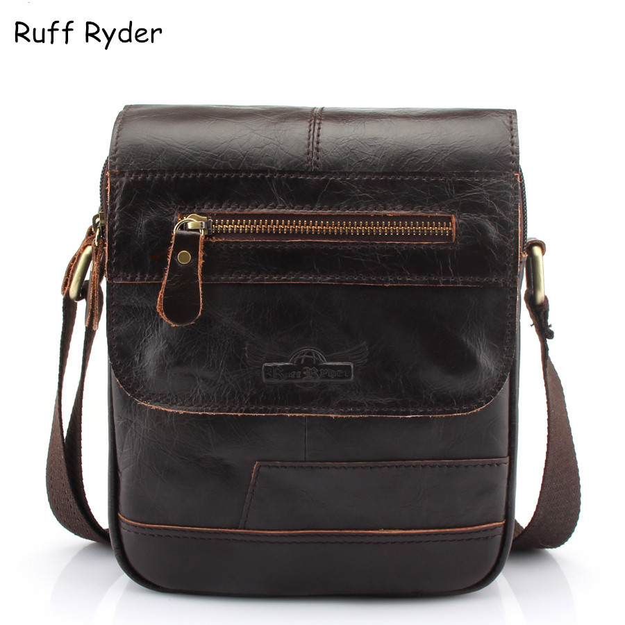 Ruff Ryder Cow Genuine Leather Bags Men Shoulder Crossbody Messenger Bags for Man Casual Business Sacoche Homme Bolsa Masculina cow genuine leather messenger bags men casual travel business crossbody shoulder bag for man sacoche homme bolsa masculina