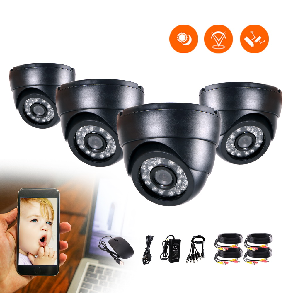 4X 1/4CMOS 3.6mm 24IR-Leds Infrared Day/Night Vision Dome CCTV Camera 700TVL Indoor Home Security Camera System 1xUSB MOUSE 1 4 cmos 700tvl color camera 3 6mm lens 24 ir leds security dome camera