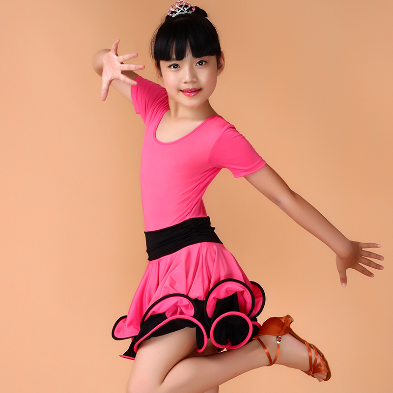 Free Shipping Girls Salsa Dresses Kids Latin Dance Wear XS-XXL Children Tango Dancing Clothes School Stage Show Costume For Sale