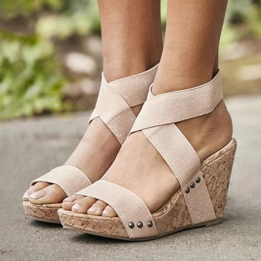 Ladies Wedge Platform Peep Toe Cut Out Sandals Womens High