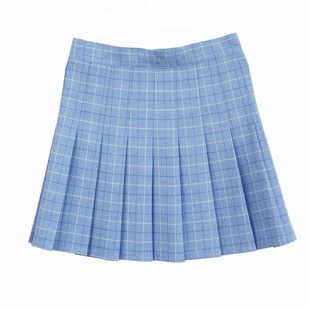 Una línea de falda A Cuadros plisada Uniforme Falda de talle alto clásico Gris y de color caqui y azul y rosa celosía