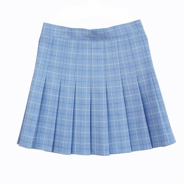 Vestido de cuadros plisada falda uniforme falda de cintura alta clásica  gris y color caqui y 05beaa79ec72