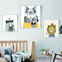 Wall art Picture cartoon animal Canvas Painting lion fox and bear decor poster canvas painting prints on