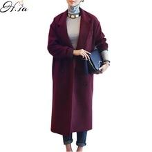 H. SA Зимнее Пальто Женщин Элегантный Длинное Пальто Шерстяной Пиджак Фиолетовый Красный Шерсть Тренчи Плюс Размер Свободные Зима пиджаки 2016