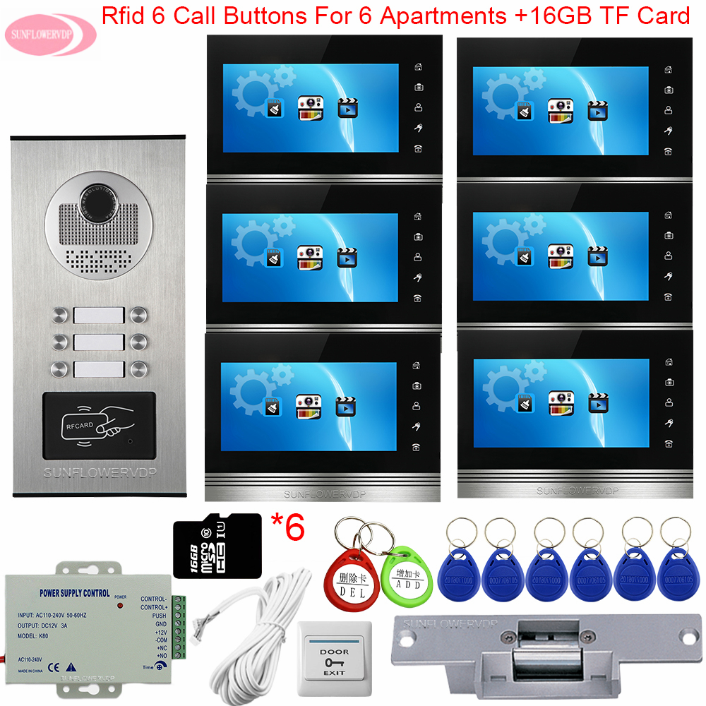 Video Intercom With Recording Monitoring Camera System + 16GB TF Card 7inch Video Door Entry Access Control Electric Strike Lock
