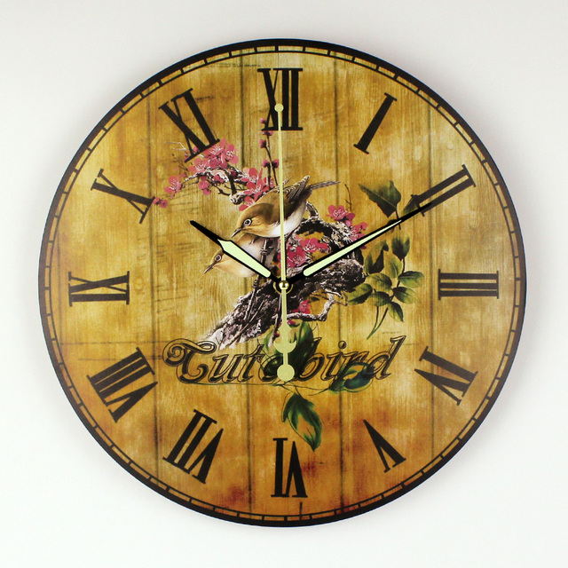 Bedroom Decoration Wall Clock With Silent Clock Movement Warranty 3 Years  Vintage Home Decoration Wall Clock