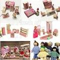 Розовый Деревянные Куклы Дом Мебель Миниатюрные 6 Room Set/6 Куклы Для Детей Дети Бесплатная Доставка