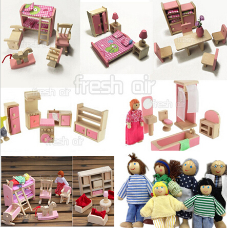 Pink Wooden Dolls House Furniture Miniature 6 Room Set/6Dolls For Kids  Children Free Shipping