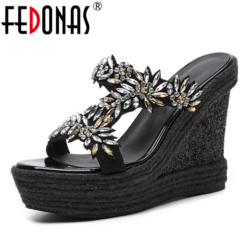 FEDONAS New Women Rhinestone Summer Sandals Wedges High Heeled Wedding Party Shoes Woman Club Comfort Shoes Female Pumps