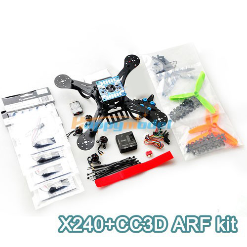X240 Fiberglass Mini Drone FPV Quadcopter Aircraft w/ CC3D Flight Control Board Motor ESC ARF Kit