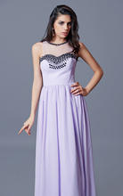 Bridesmaid Dresses Lavender 2017 Sheer Neck Rhinestone Wedding Party Dresses Plus Size Maid of Honor Custom Made 12091318
