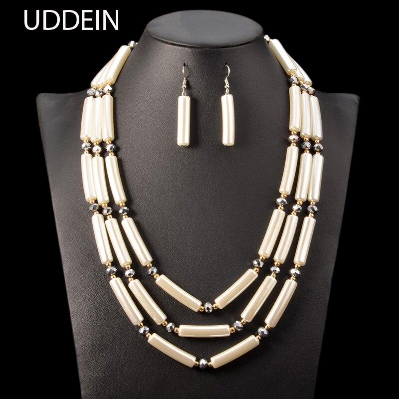 UDDEIN Fashion wedding bridal accessories bib beads multi layer handmade statement necklace & pendant African beads jewelry sets