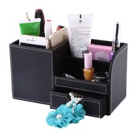 High Grade Wooden Leather Pen Pencil Box Holder Desktop Remote Storage Box Stationery Organizer Case Container