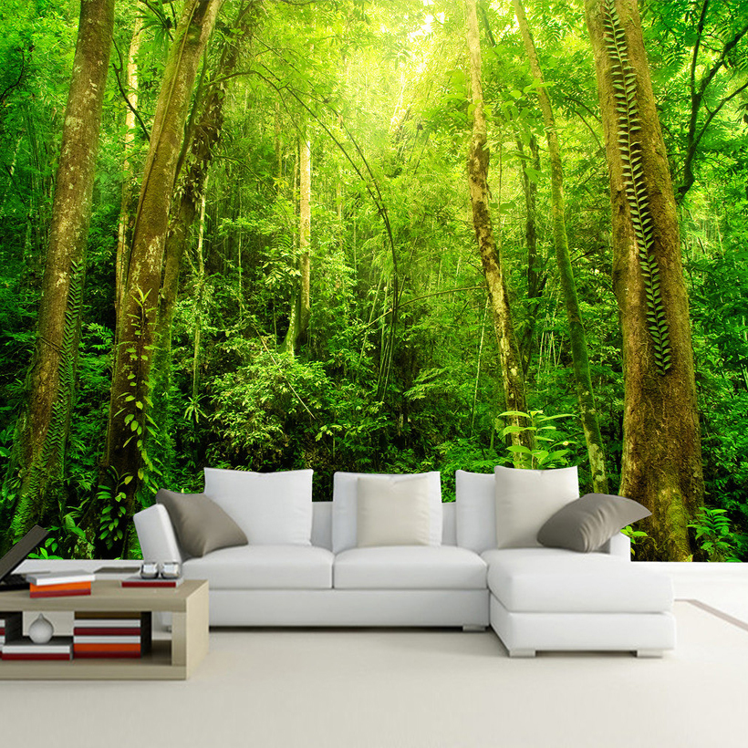 Us 8 77 53 Off Custom Any Size 3d Wall Mural Wallpaper Sunshine Forest Tree Landscape Wall Decorations Living Room Bedroom Home Decor Wallpaper In