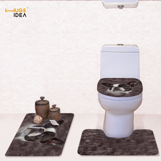 HUGSIDEA French Bulldog Print Toilet Seat Cover 3PC Set Bathroom Commode Pedestal Rug Lid Pads