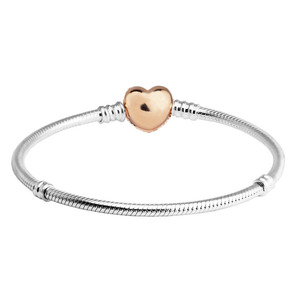 Image 2 - 100% 925 Sterling Silver Bracelets Bangles Rose Gold Pave Heart Clasp Bracelet for Women DIY Charms Jewelry pulseras Wholesale