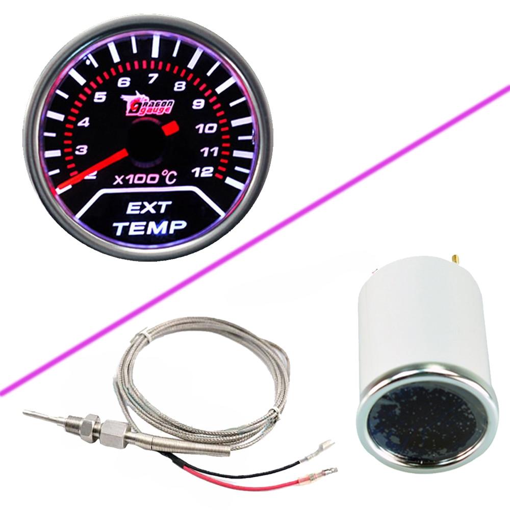 """Dukungan EE Mobil Motor Universal Smoke Len 2 """"52mm Indikator EGT Exhaust Gas Temp Gauge Meter LED Display Suku Cadang Mobil"""