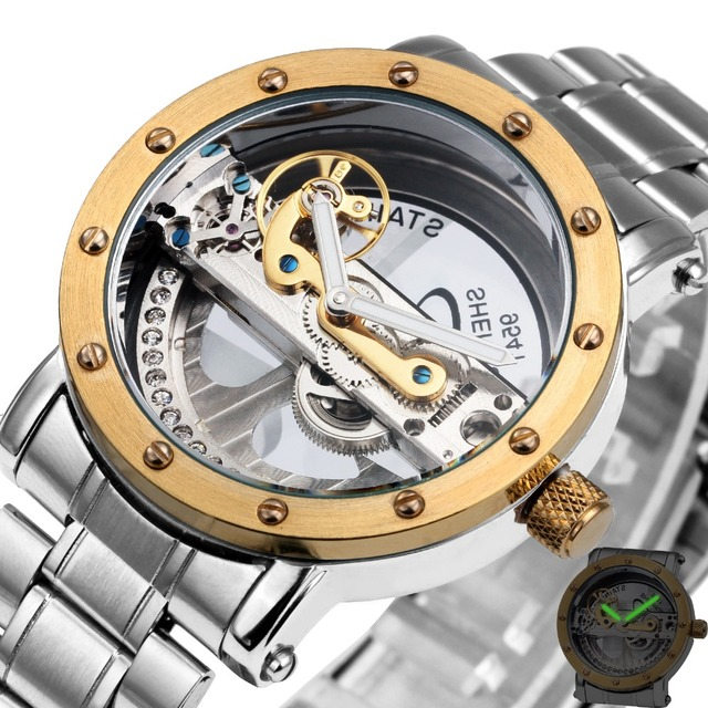 2016 Men Fashion Vintage Mechanical Wrist Watches Stainless Steel Watchband Male Automatic Clock Transparent Dial Top Brand +Box