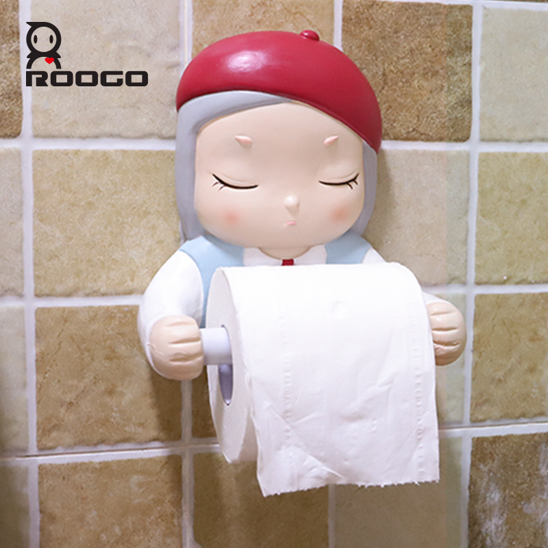 Roogo Cartoon Dream Girl Toilet Paper Holder Ceramic Bathroom Decoration Accessories Paper Dispenser Creative Towel Toilet