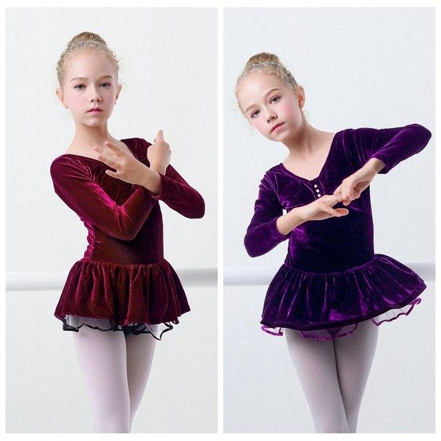 Зима Девочек балетное платье-пачка теплый бархат гимнастическое платье детские танцевальные тренировочное балетное Одежда для танцев