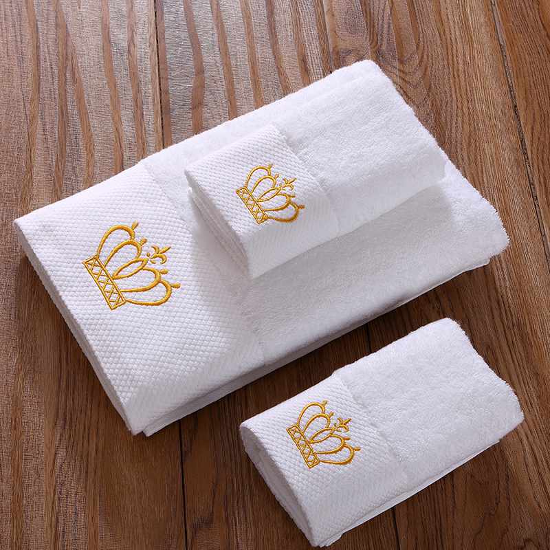 Idouillet White Plush Terrycloth Cotton Hotel Bathroom Towels Set Of 3 Embroidered Gold Crown 1 Bath Towel 2 Hand