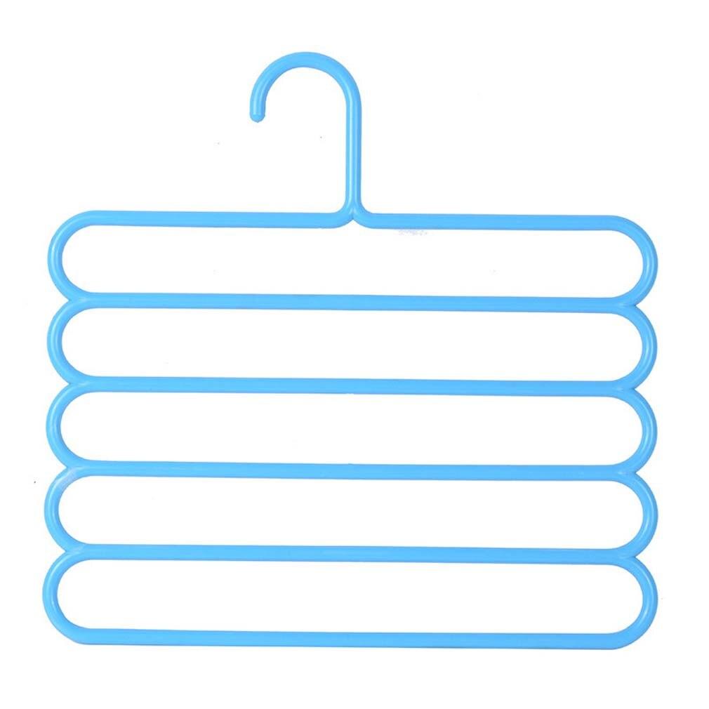 5 слоев не Нескользящая мультифункциональная подкладка под вешалки для одежды со штанами Для Хранения Вешалки ткань стойки Многослойные хранения шарф галстук вешалка 1 шт - Цвет: Sky blue