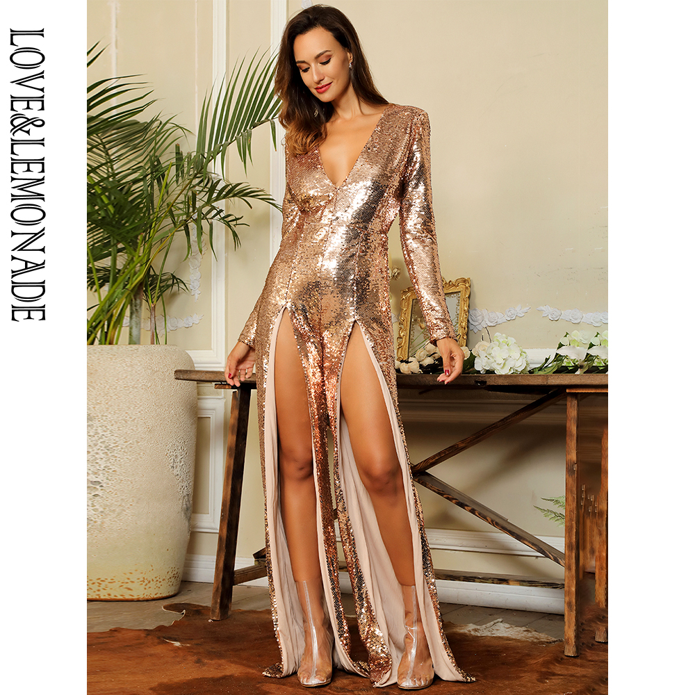 LOVE&LEMONADE Sexy  Deep V-Neck Cut Out Sequins Jumpsuit LM81538 GOLD