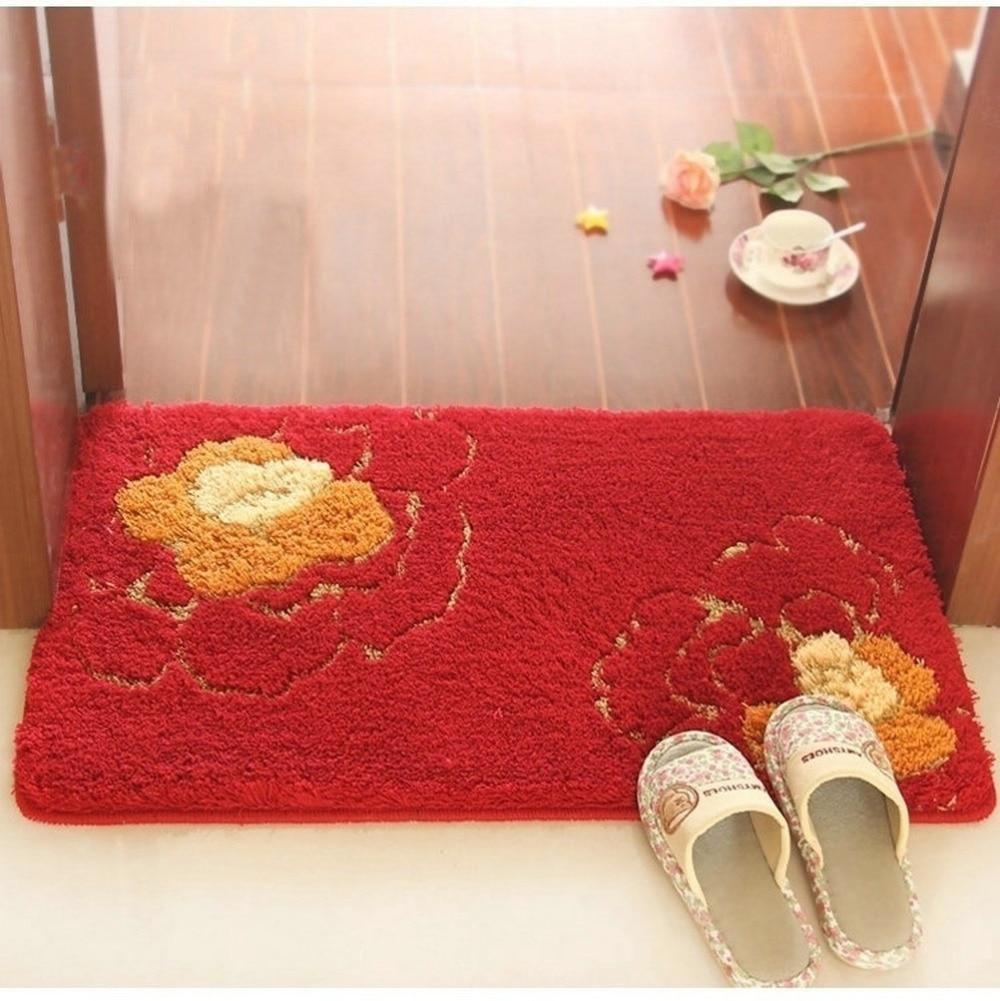 NiceRug Épaississement Salle De Bains antidérapant Tapis Absorbants Rouge Fleurs Imprimer Intérieur Carpet Tapis de Sol Rectangle Cuisine Tapis Tapp - 3