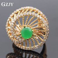 GZJY Fashion Jewelry Rose Gold Color Green Created Emerald Zircon Rotation AAA Cubic Zirconia Ring For Women G08-2