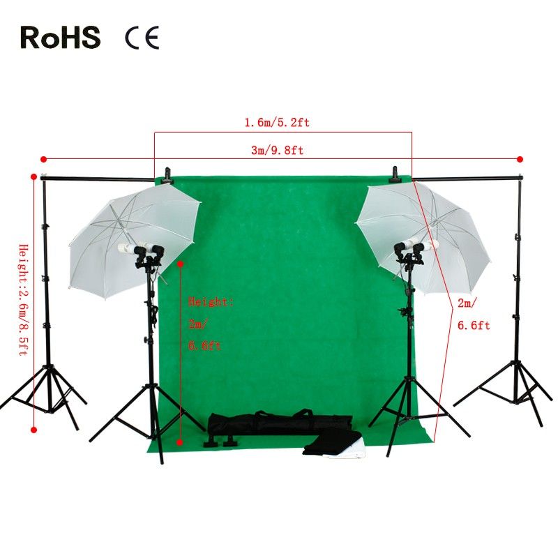 Photo Studio Kit:Black,Green,White non-woven backdrops&Supporting System&Umbrella Reflector&4 x 45w 5500K Daylight Light Bulb